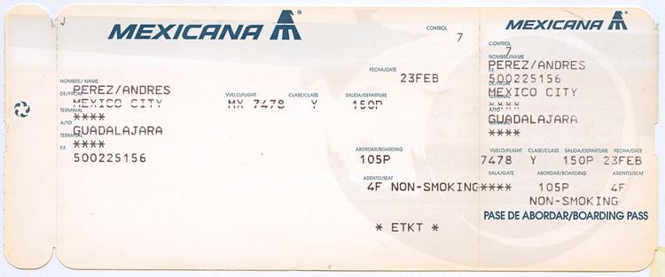 Segundo pase de abordar para el vuelo en conexión Ciudad de México ...